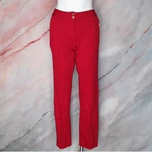 ALFANI Red Stretch Cropped Pants Zip Pockets